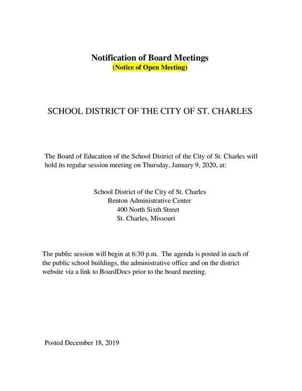 SCSD BoE January 9, 2020 Meeting