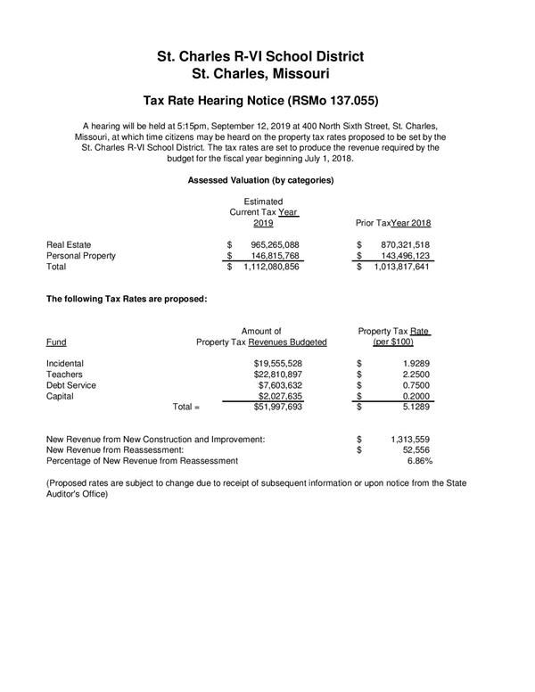 2019 Tax Rate Hearing